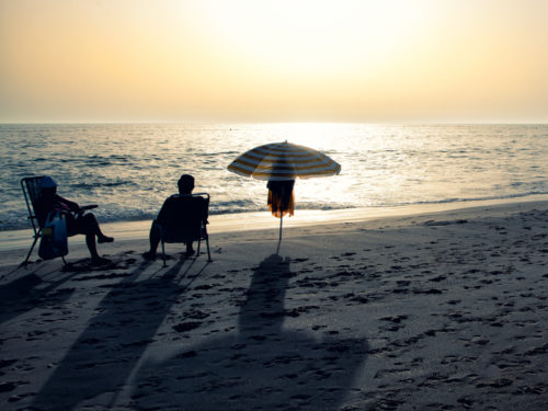 Relax on the beach (At the sunset)